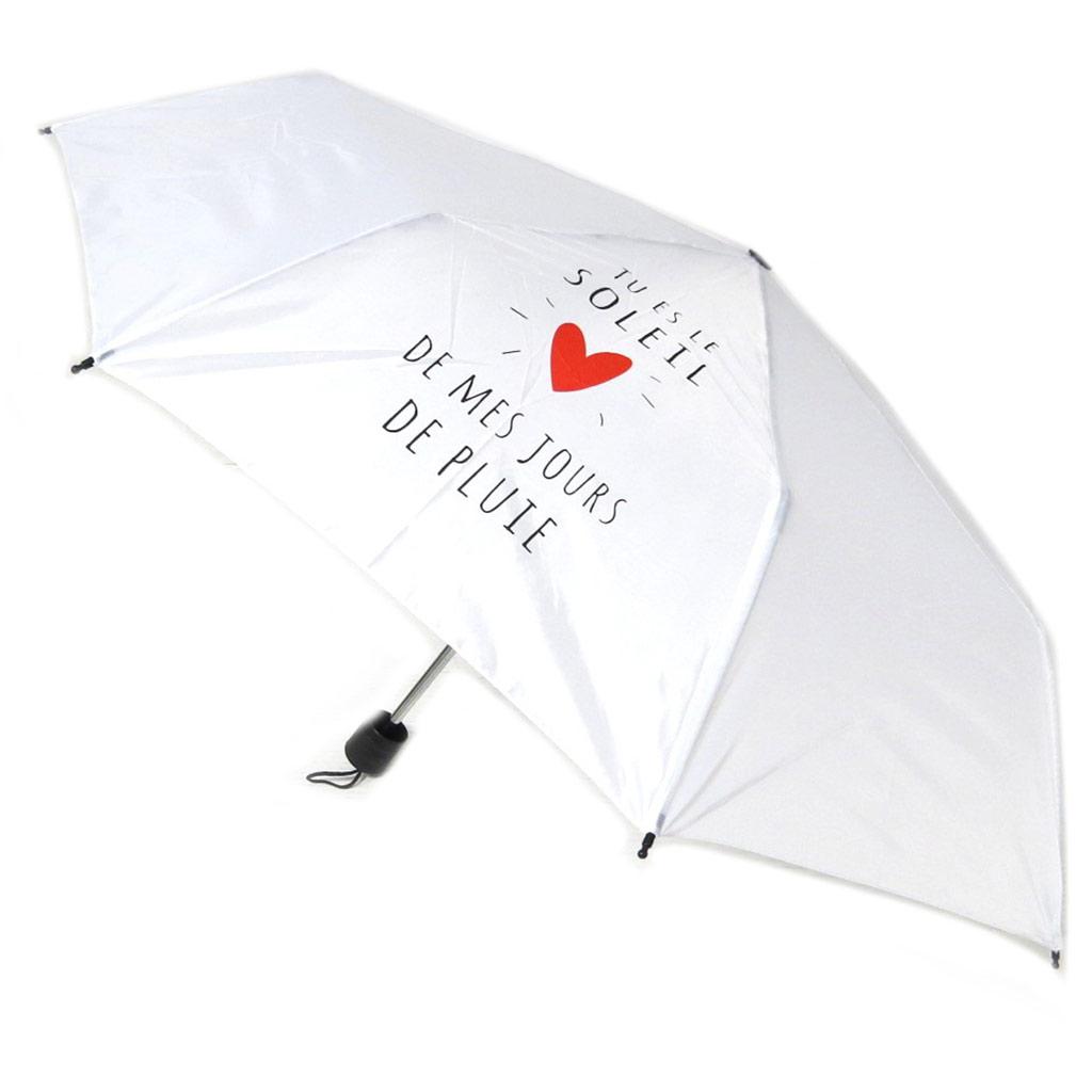 Parapluie mini manuel \'Mots d\'Amour\' blanc (Tu es le Soleil de mes jours de pluie) - 23x6 cm - [P8924]