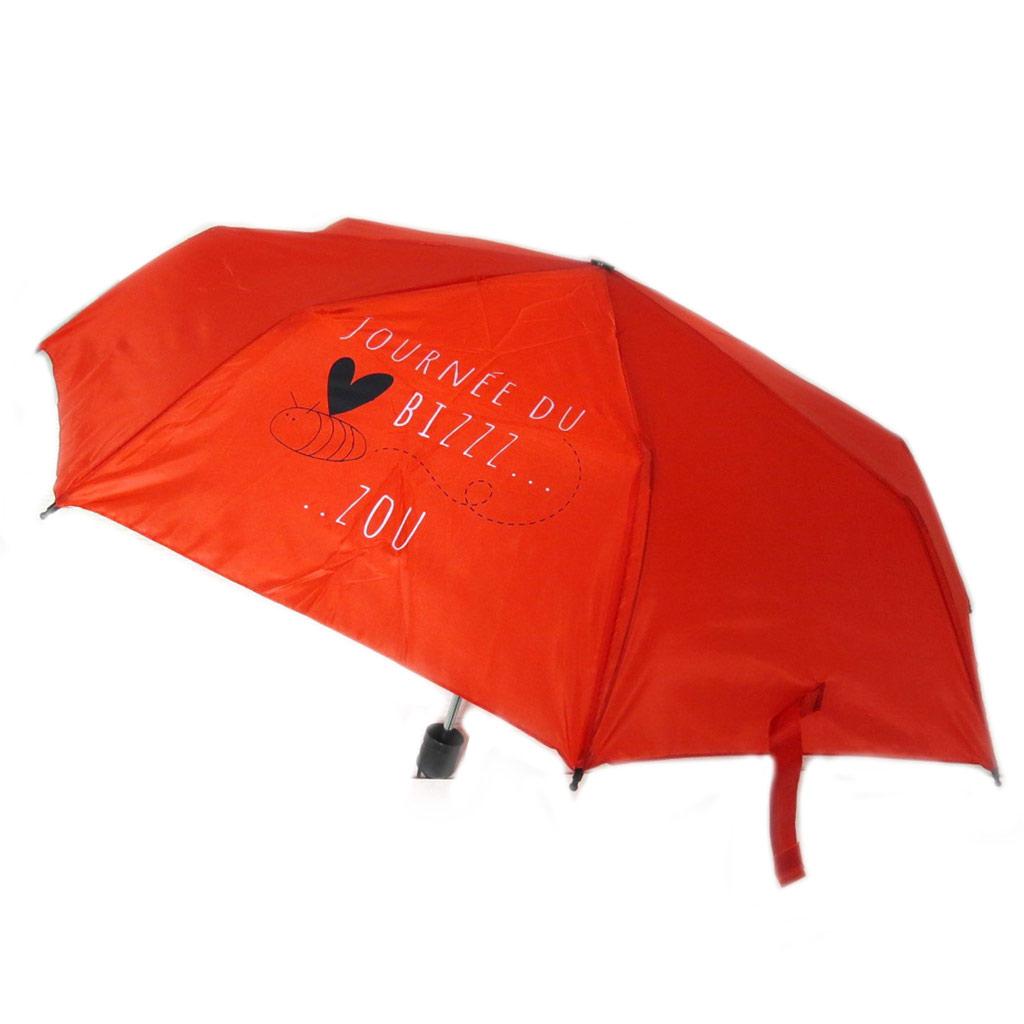 Parapluie mini manuel \'Mots d\'Amour\' rouge (Journée du bizzzzou) - 23x6 cm - [P8925]