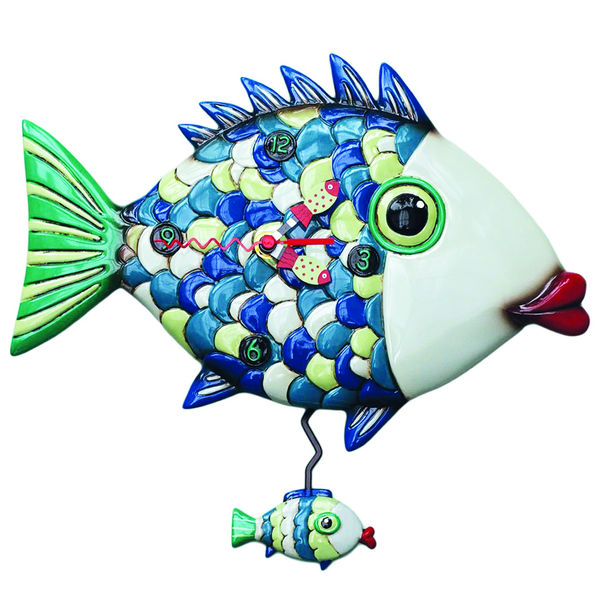 Horloge Murale \'Allen Designs\' vert bleu (poisson) - 32x28 cm - [P9089]