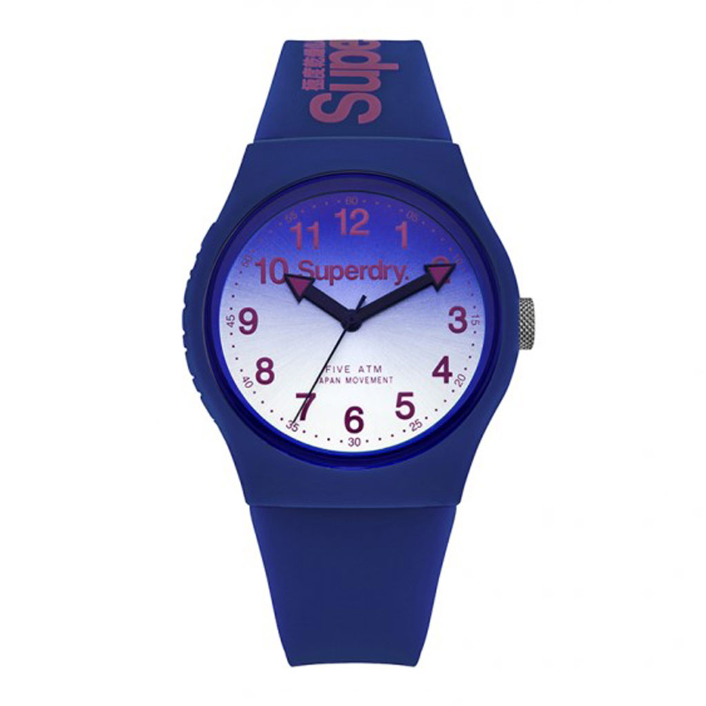 Montre silicone \'Superdry\' bleu rose - 40 mm - [P9126]
