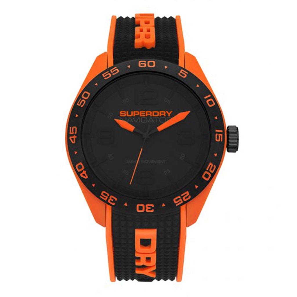 Montre silicone \'Superdry\' noir orange (Navigator) - 45 mm - [P9133]
