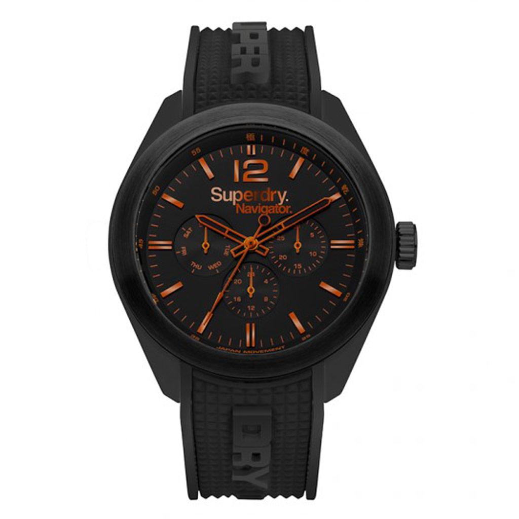 Montre multifonctions silicone \'Superdry\' noir orange (Navigator) - 45 mm - [P9134]