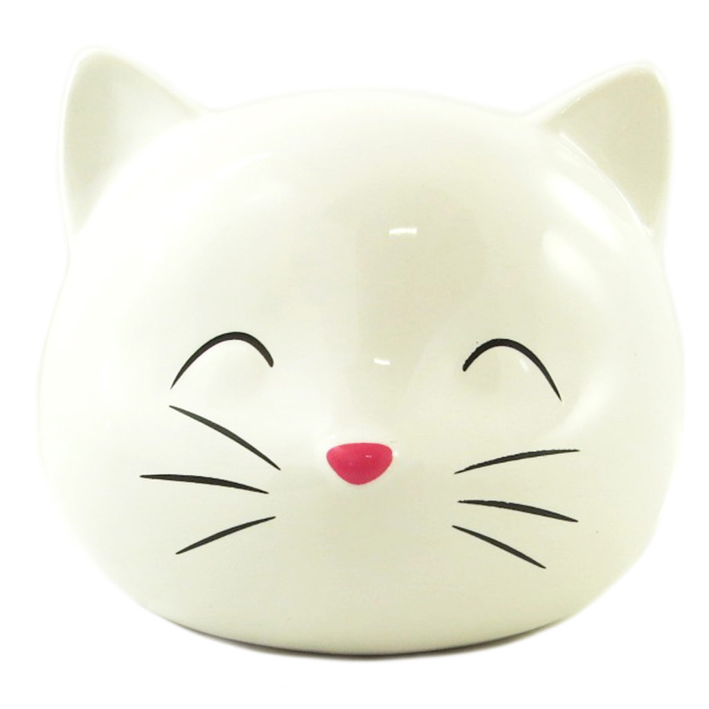 Tirelire céramique \'Chat\' ivoire - 135x115 cm - [P9203]