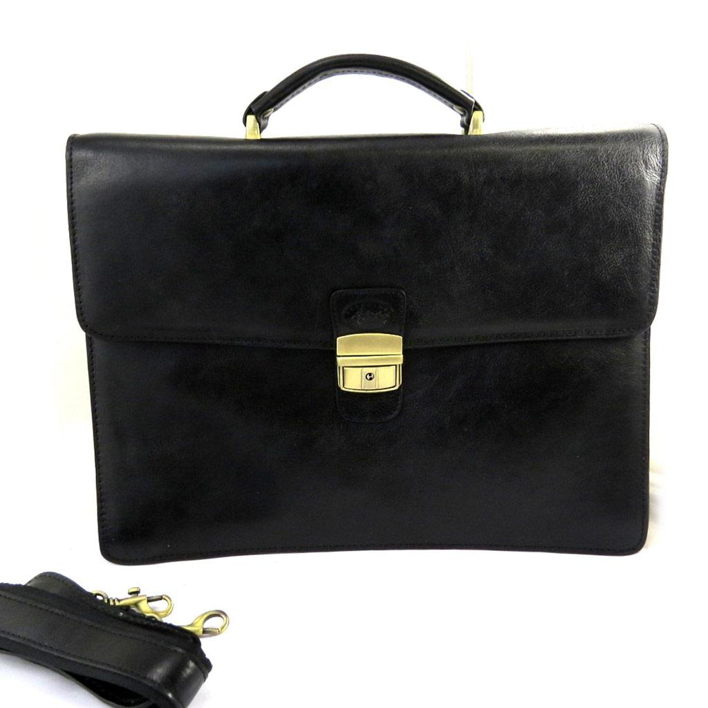 Sacoche cuir \'Lafayette\' noir (2 soufflets) - 38x28 cm - [L8604]