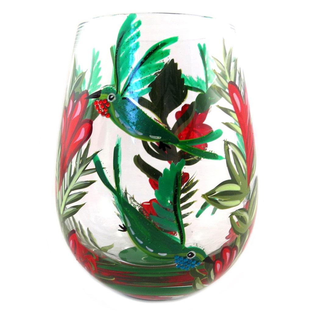 Verre à vin artisanal \'Colibri\' vert rouge (hummingbird) - 125x7 cm - [P9237]