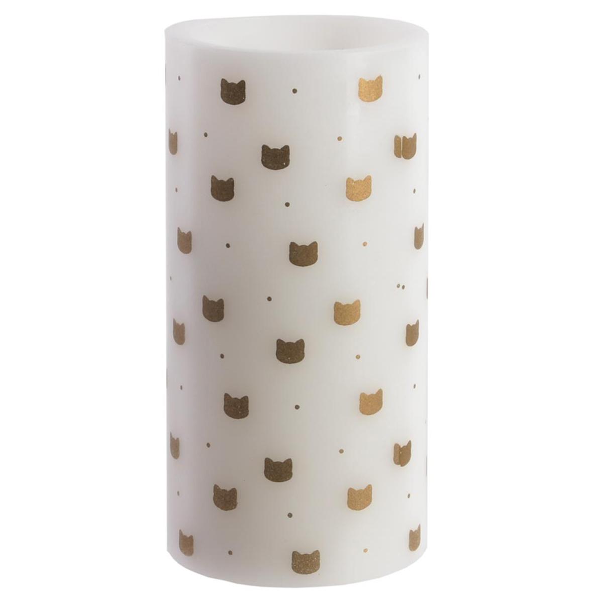 Bougie LED \'Chats\' blanc doré (cire véritable) - 15x75 cm - [Q5406]