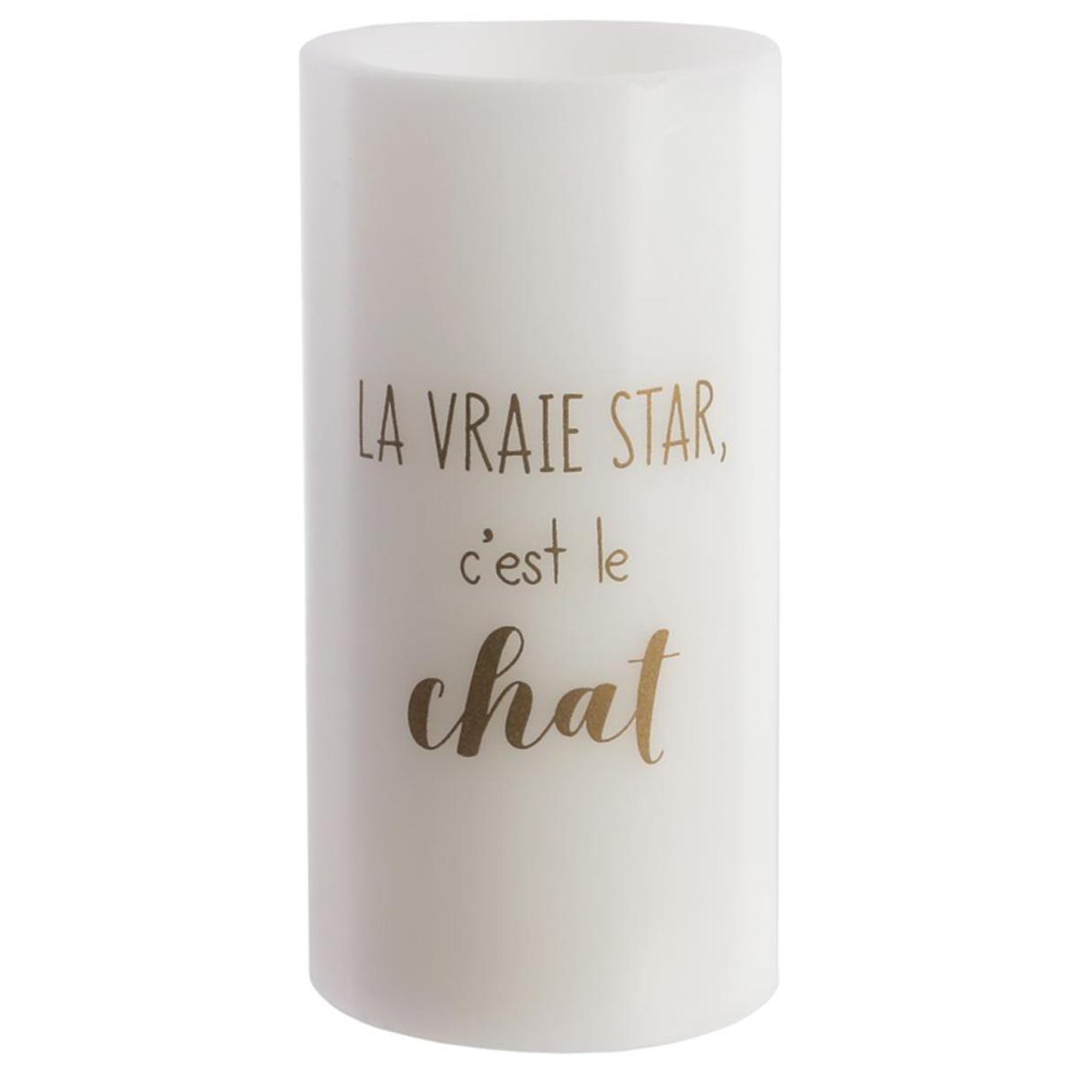 Bougie LED \'Chats\' blanc doré (cire véritable) La Vraie star , c\'est le chat - 15x75 cm - [Q5408]