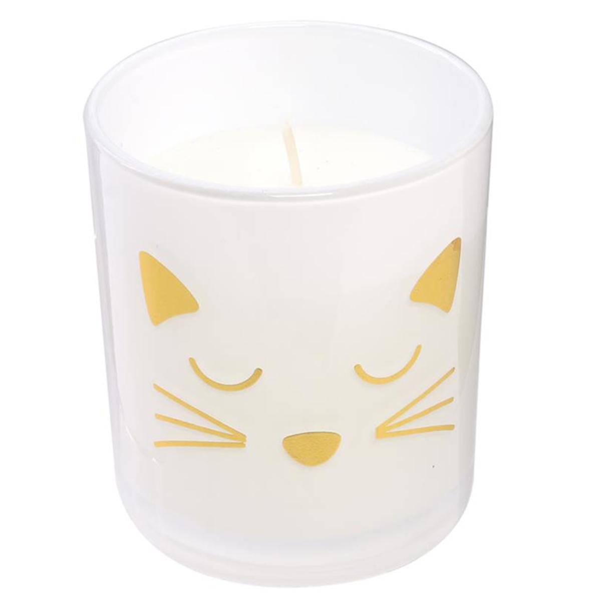 Bougie parfumée \'Chats\' blanc doré (senteur orchidée blanche) - 80x70 mm - [Q5409]