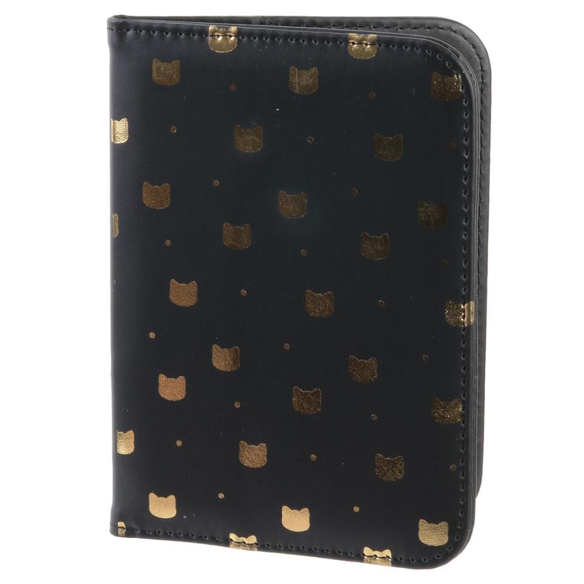 Etui passeport \'Chats\' noir doré - 14x10 cm - [Q5416]