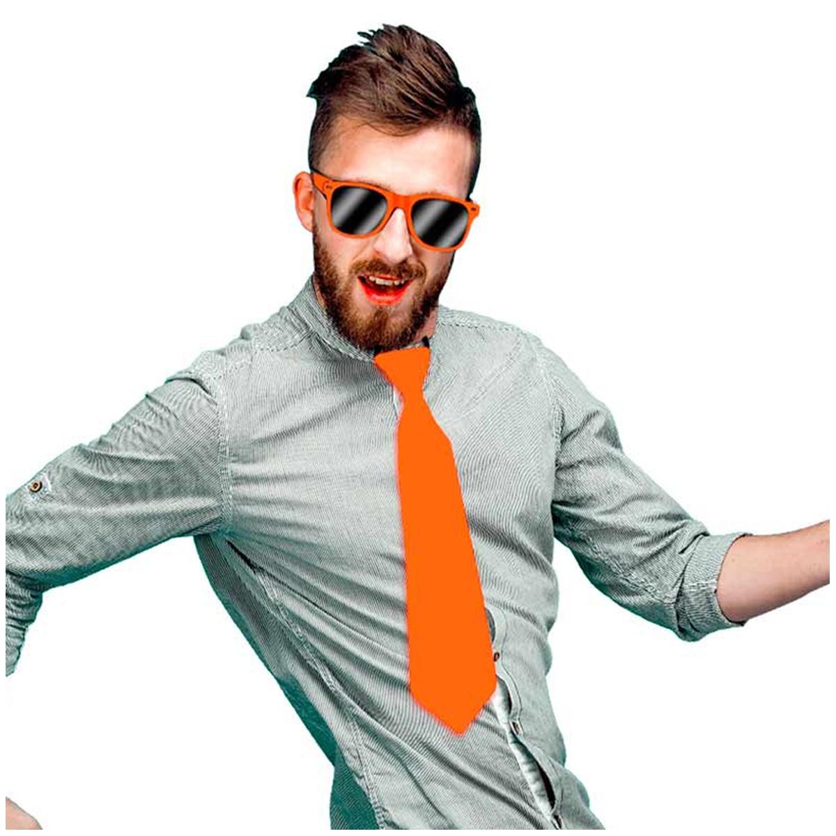 Cravate festive \'Coloriage\' orange satiné - 365x8 cm - [Q5449]