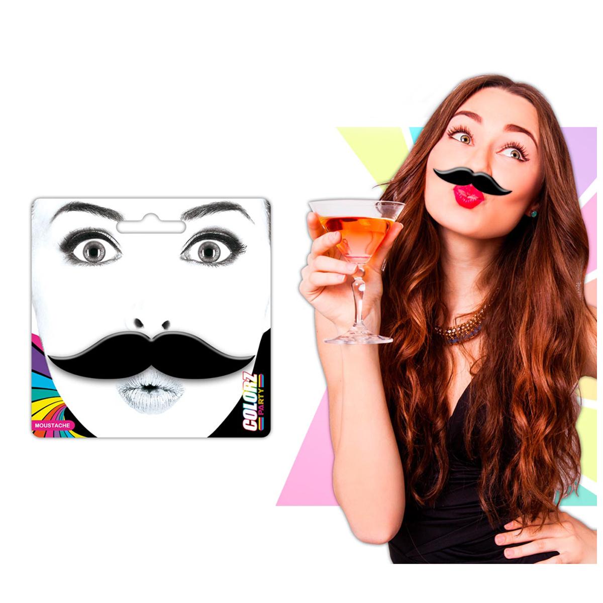 Fausse moustache \'Coloriage\' noir - 9x23 cm - [Q5454]