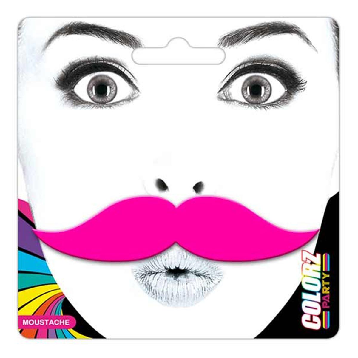 Fausse moustache \'Coloriage\' rose - 9x23 cm - [Q5455]