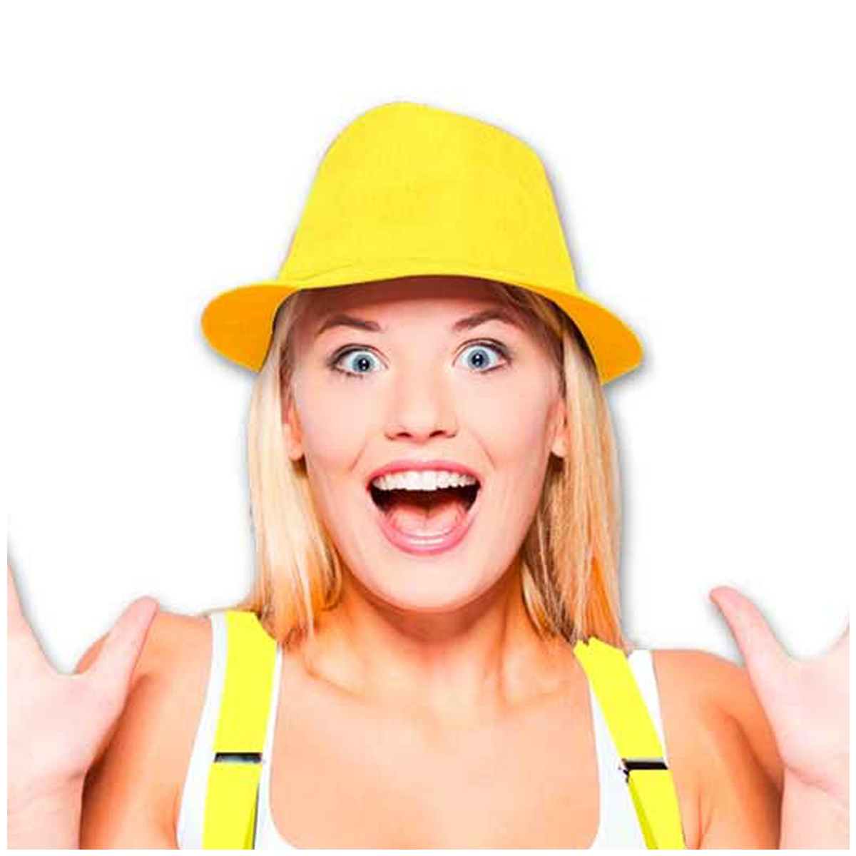 Chapeau Borsalino \'Coloriage\' jaune - [Q5559]