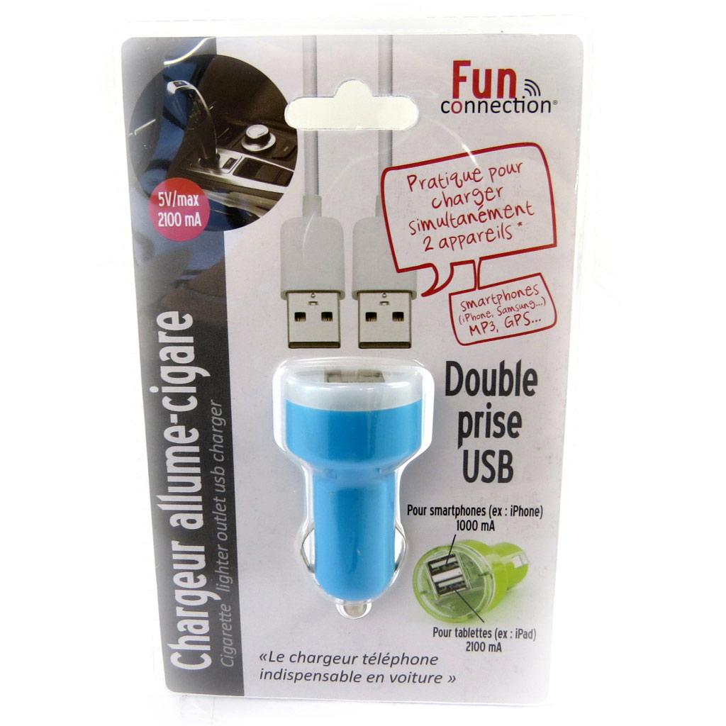 Chargeur allume-cigare \'Coloriage\' bleu (double USB) - [L9141]