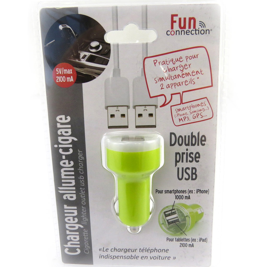 Chargeur allume-cigare \'Coloriage\' vert (double USB) - [L9142]