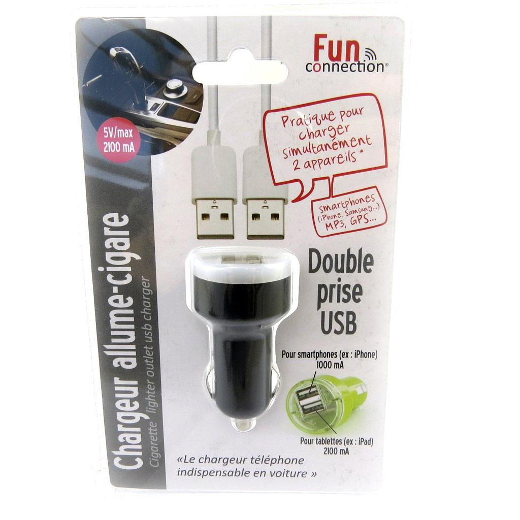 Chargeur allume-cigare \'Coloriage\' noir (double USB) - [L9144]