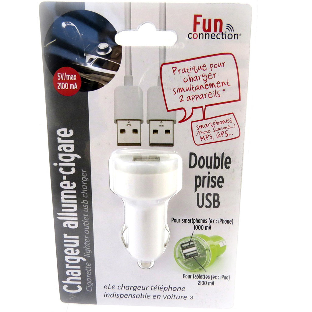 Chargeur allume-cigare \'Coloriage\' blanc (double USB) - [L9145]