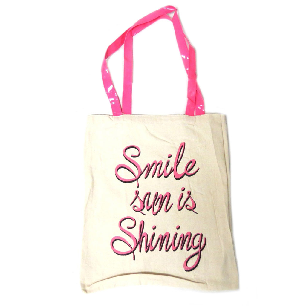 Sac coton / Tote bag \'Messages\' beige rose (Smile sun is shining) -  42x365 cm - [P9489]