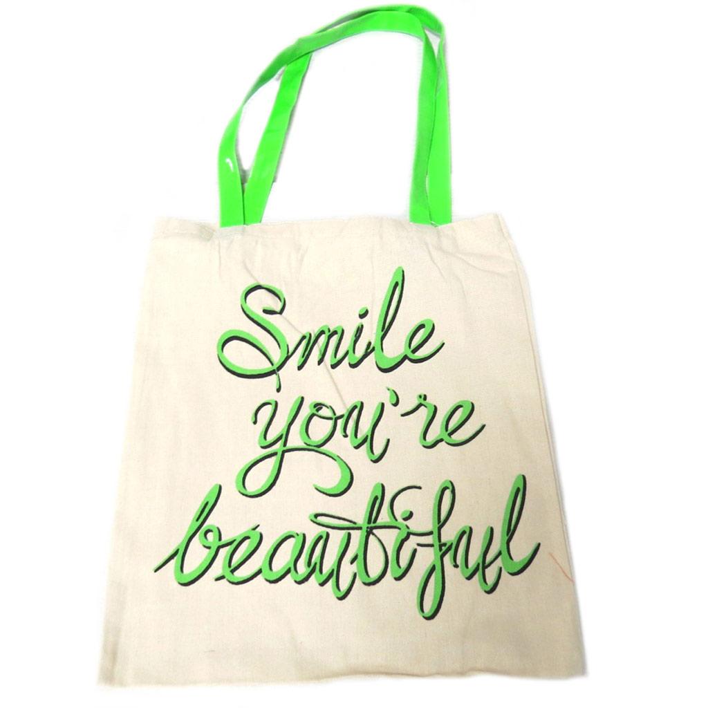 Sac coton / Tote bag \'Messages\' beige vert (Smile you\'re beautiful) -  42x365 cm - [P9490]