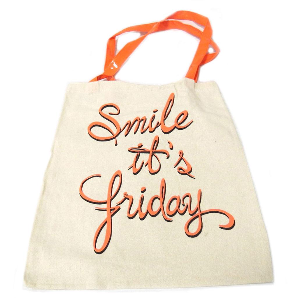 Sac coton / Tote bag \'Messages\' beige orange (Smile it\'s friday) -  42x365 cm - [P9491]