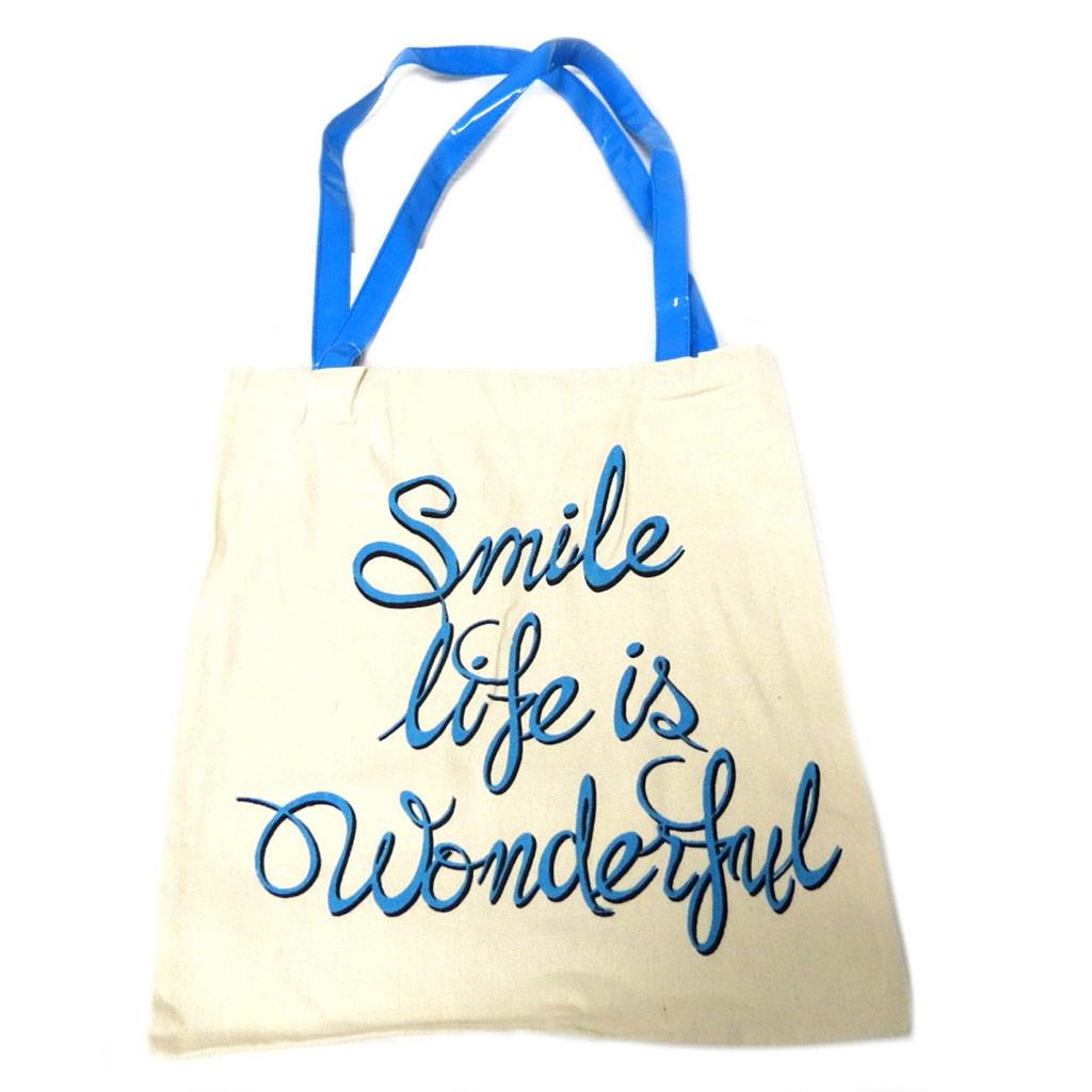 Sac coton / Tote bag \'Messages\' beige rose (Smile life is wonderful) -  42x365 cm - [P9492]