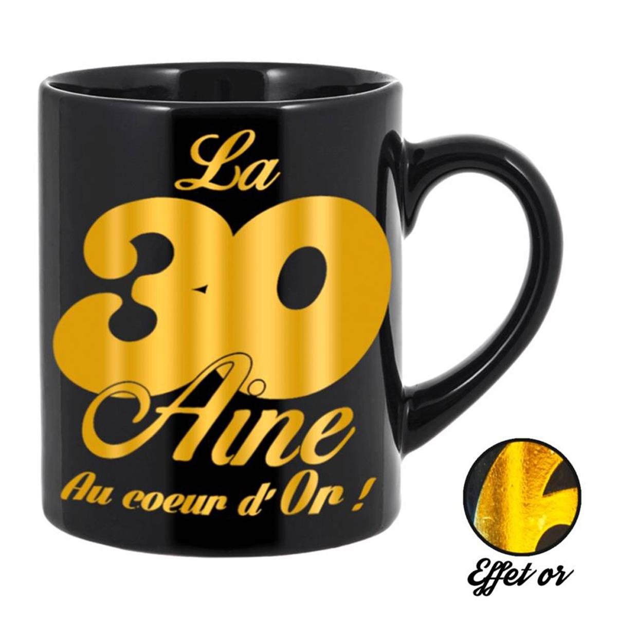 Grand mug tendresse \'30 aine\' noir doré - 11x105 cm - [Q5577]