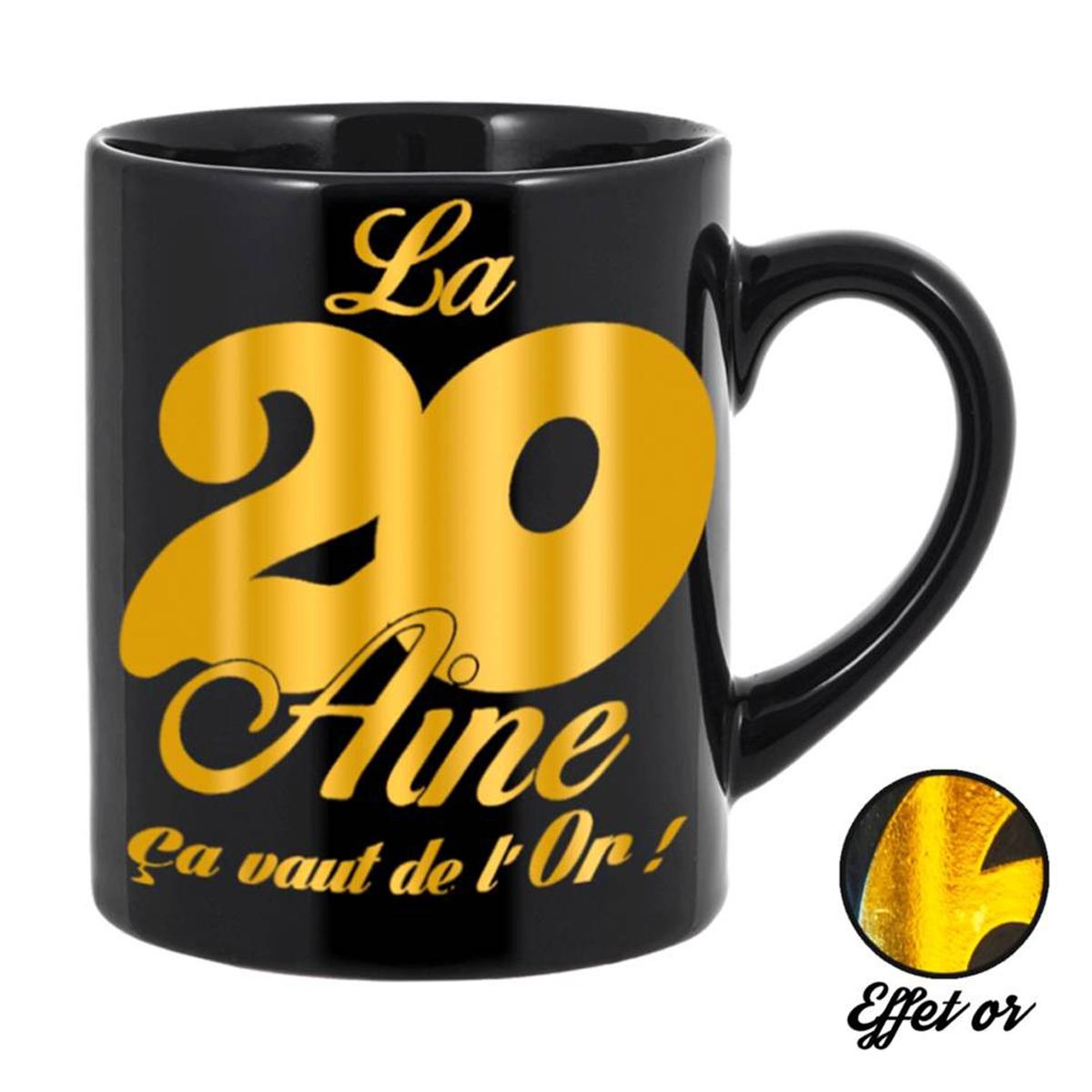 Grand mug tendresse \'20 aine\' noir doré - 11x105 cm - [Q5578]