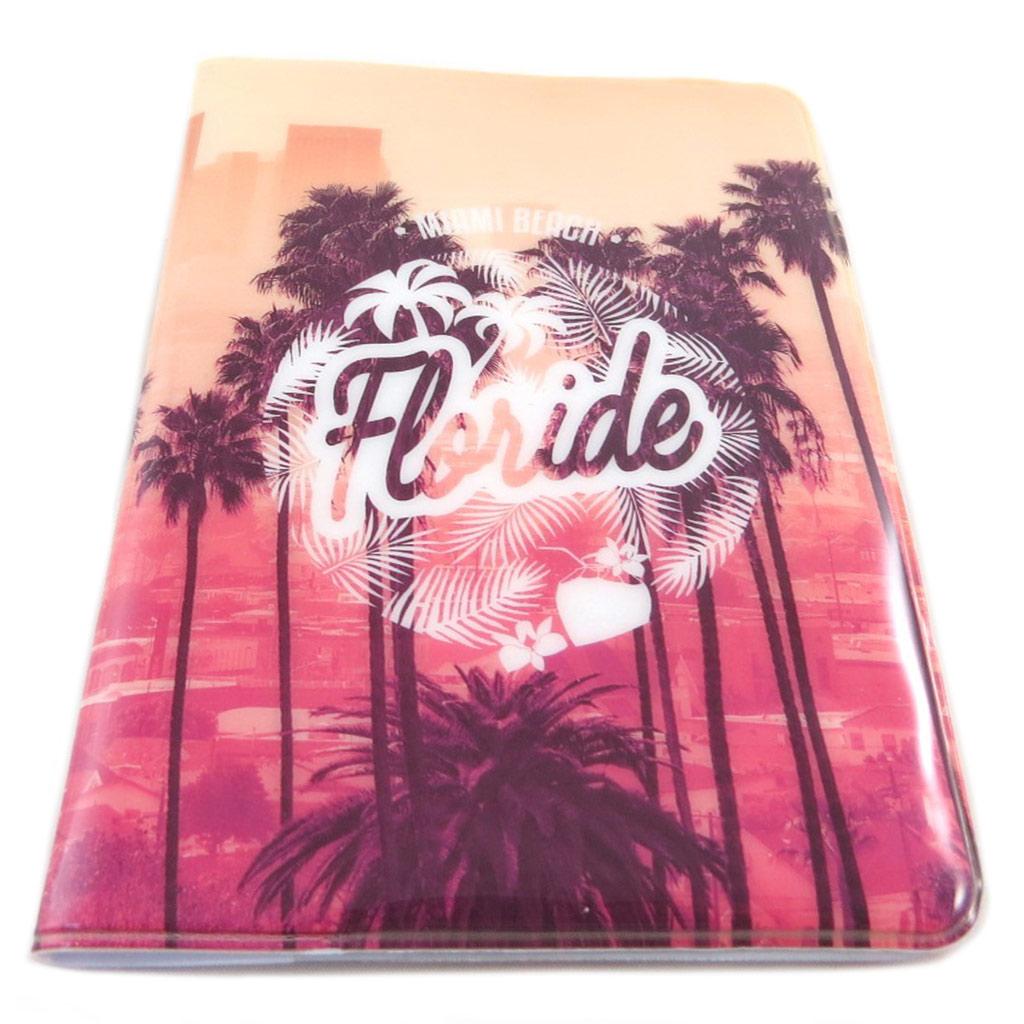 Etui passeport \'Floride\' rose orange - 14x10 cm - [P9505]