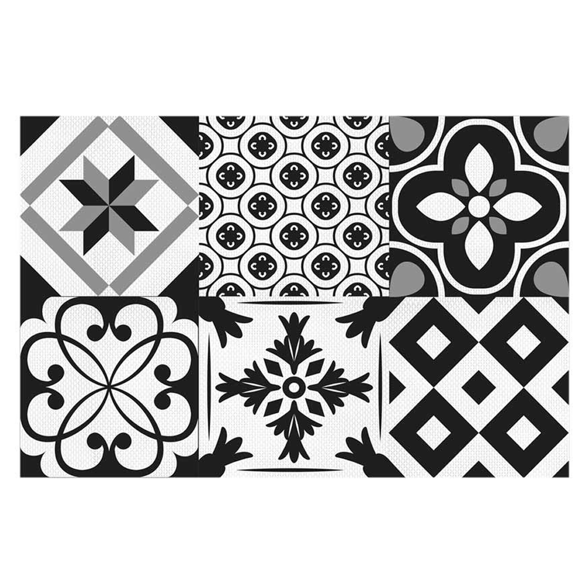 Set de table plastifié \'Boho\' noir blanc (carreaux) - 43x28 cm - [Q5592]