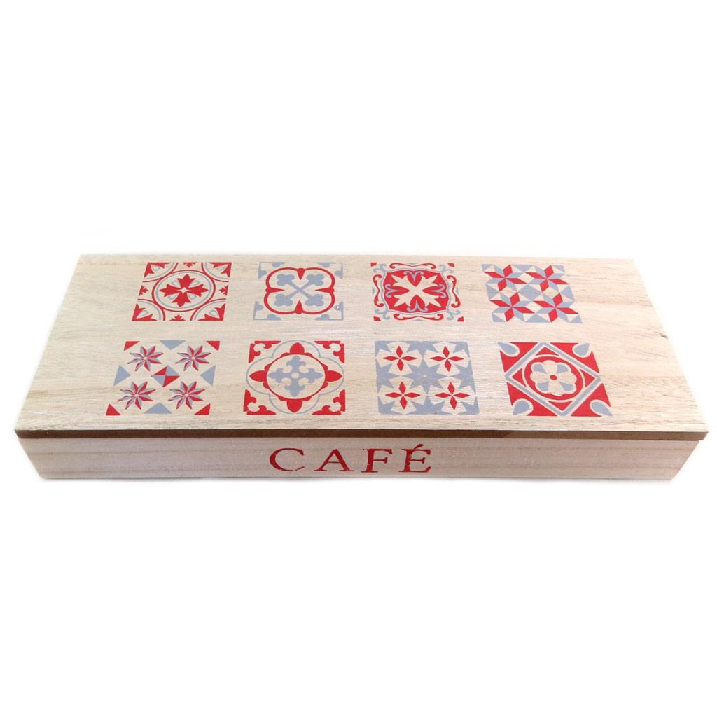 Boite à capsules bois \'Café\' beige patiné rouge - 38x15x5 cm - [P9519]