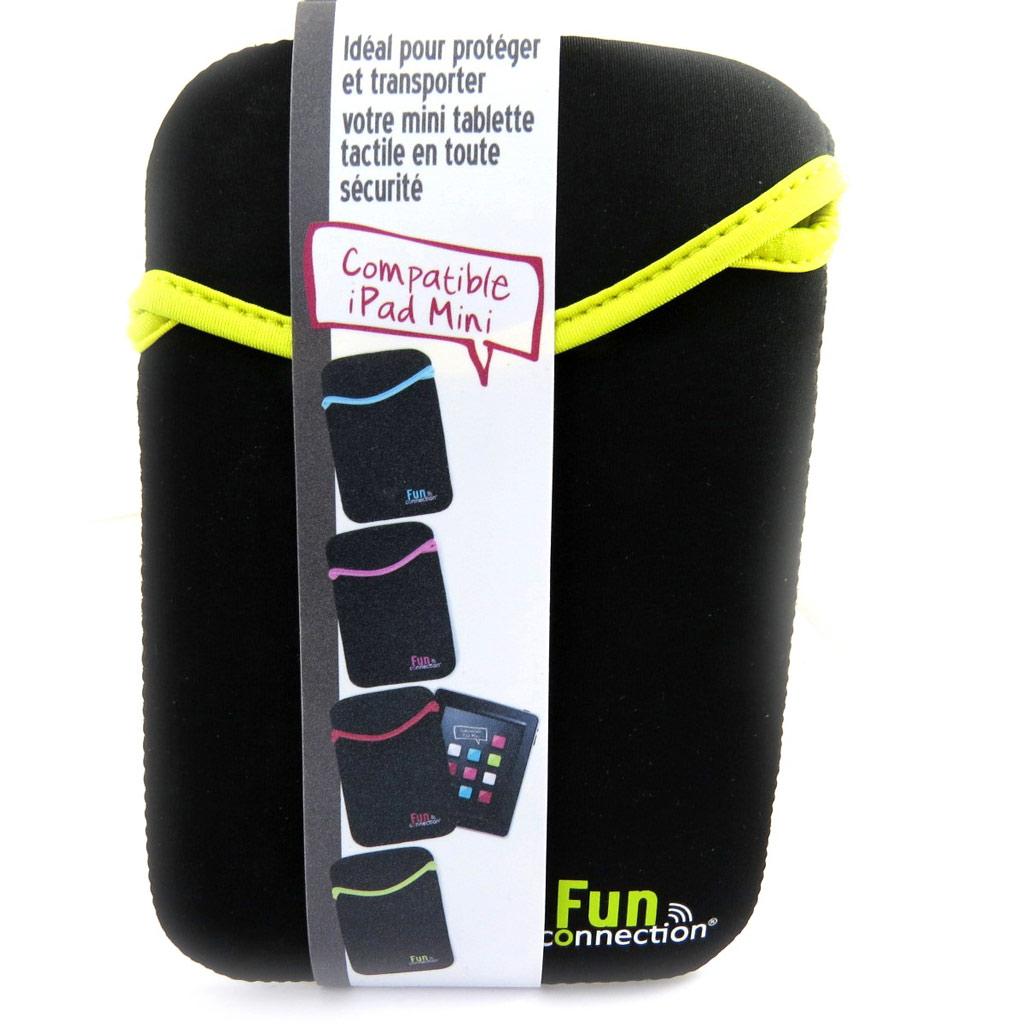 Etui mini tablette \'Indispensable\' noir jaune (néoprène) - [L9309]