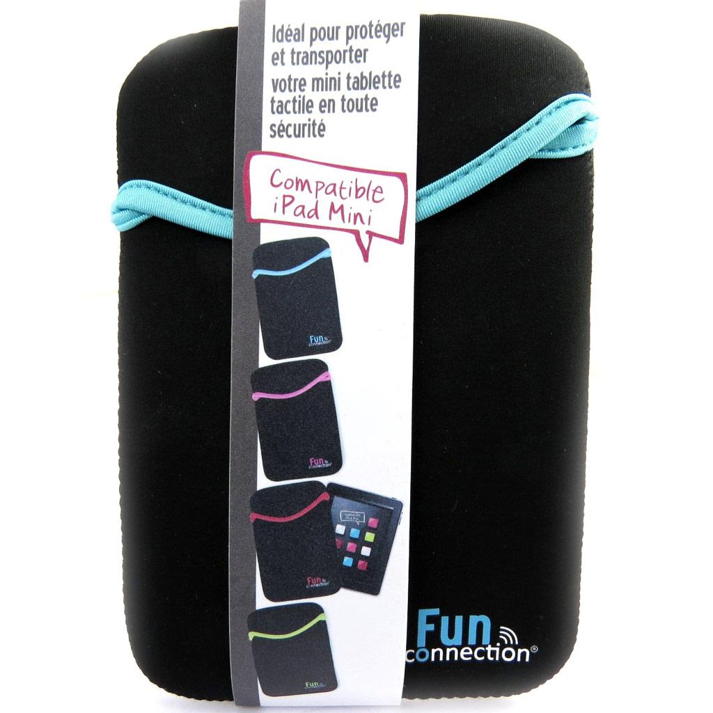 Etui mini tablette \'Indispensable\' noir bleu (néoprène) - [L9312]