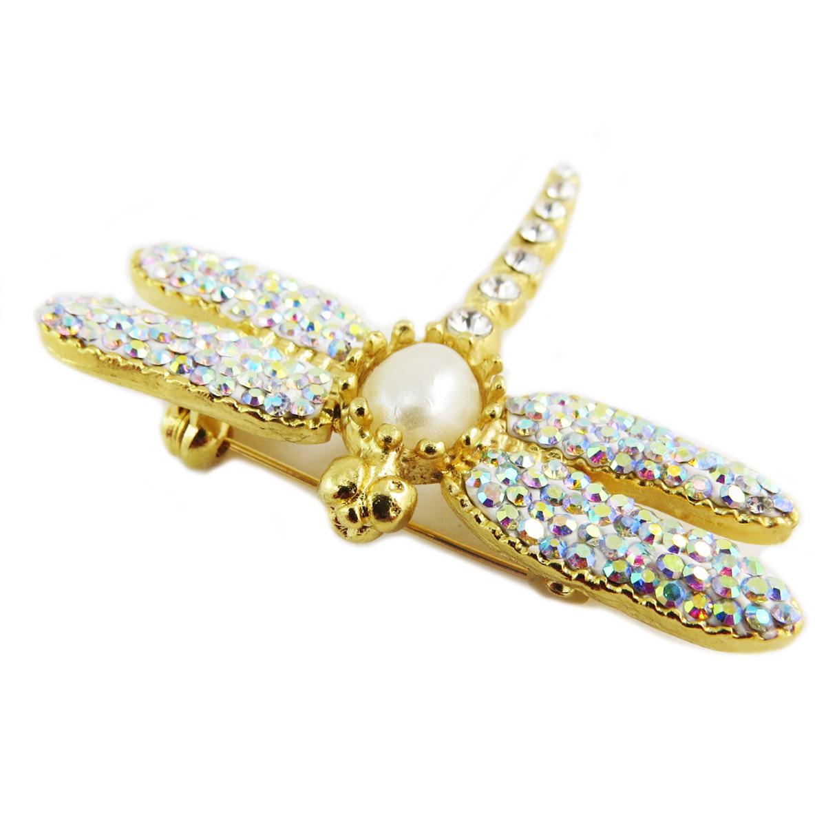 Broche artisanale \'Cléopatra\' blanc doré (libellule) - 50x48 mm - [Q5658]