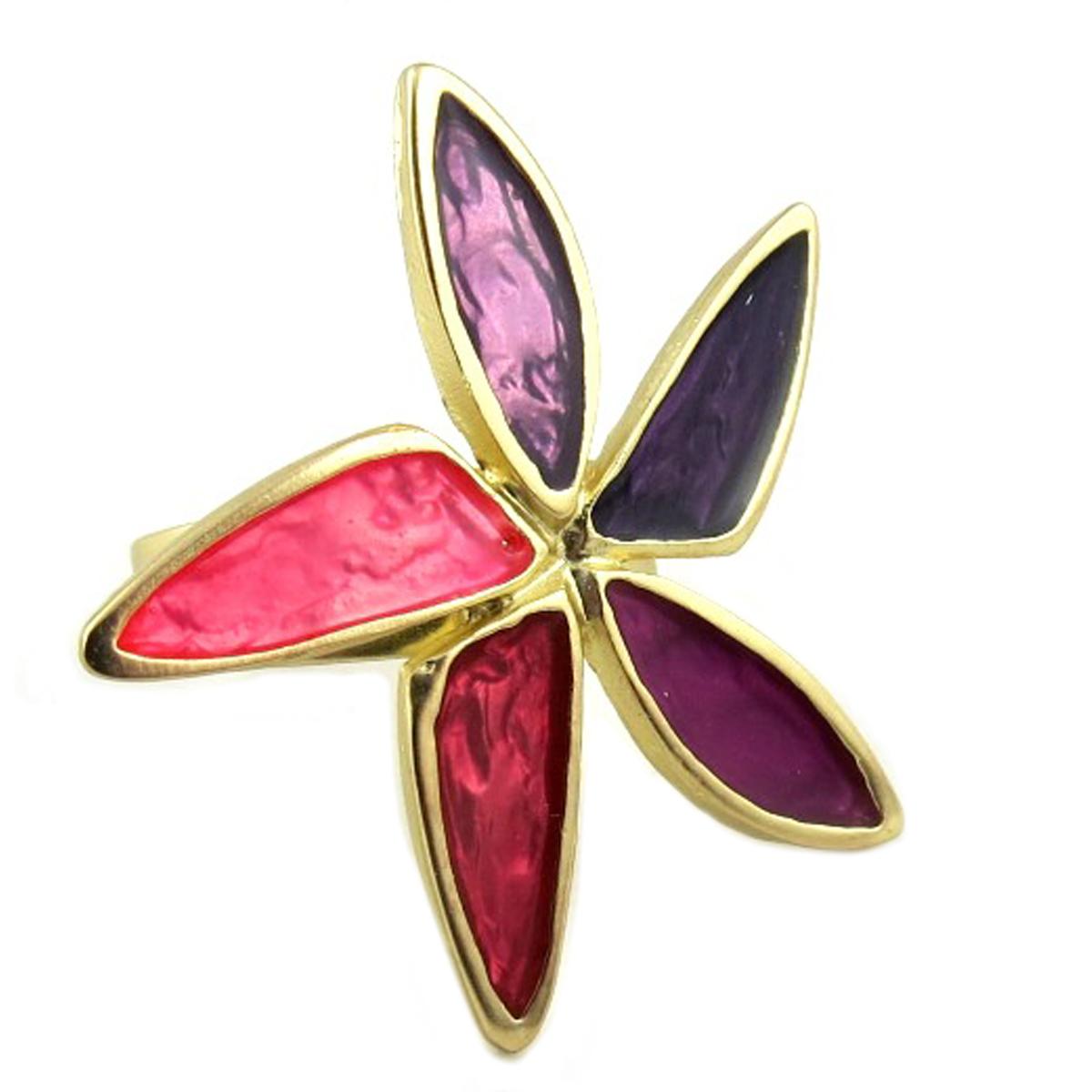 Bague Créateur \'Vahiné\' rose violet doré - 35x32 mm - [P9660]