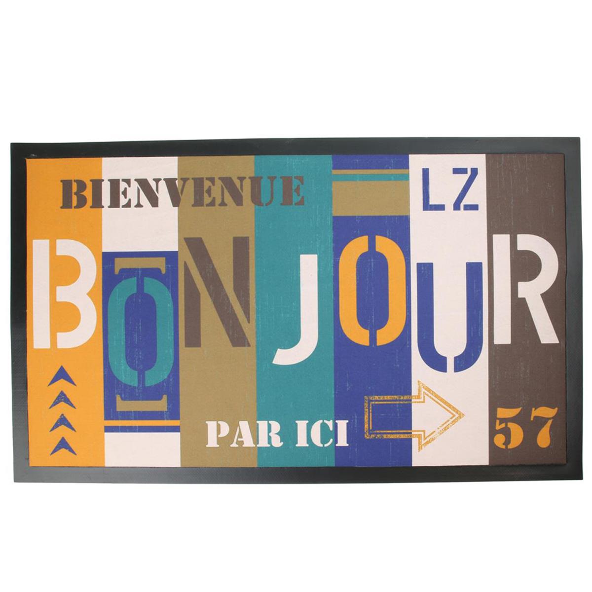 Tapis intérieur \'Messages\' multicolore (Bienvenue, bonjour, par ici) - 45x75 cm - [Q5854]