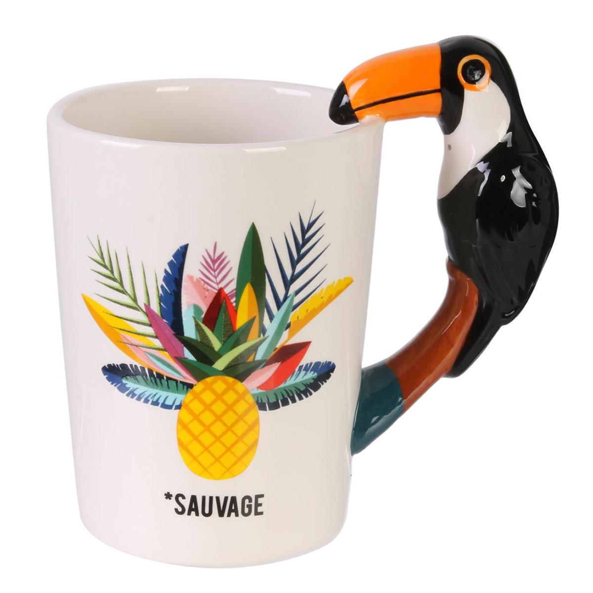 Mug céramique \'Toucan\' blanc multicolore (ananas sauvage) - 14x13 cm (30 cl) - [Q5863]