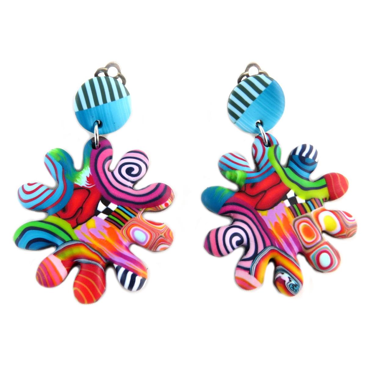 Boucles d\'oreilles clips artisanales \'Colombine & Arlequin\' multicolore - 40x40 mm - [P9820]