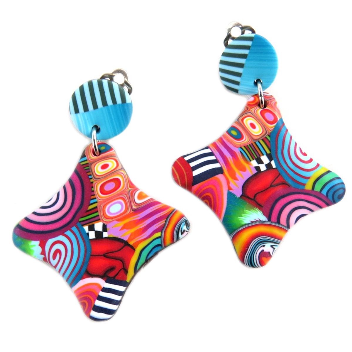 Boucles d\'oreilles clips artisanales \'Colombine & Arlequin\' multicolore - 45x45 mm - [P9821]
