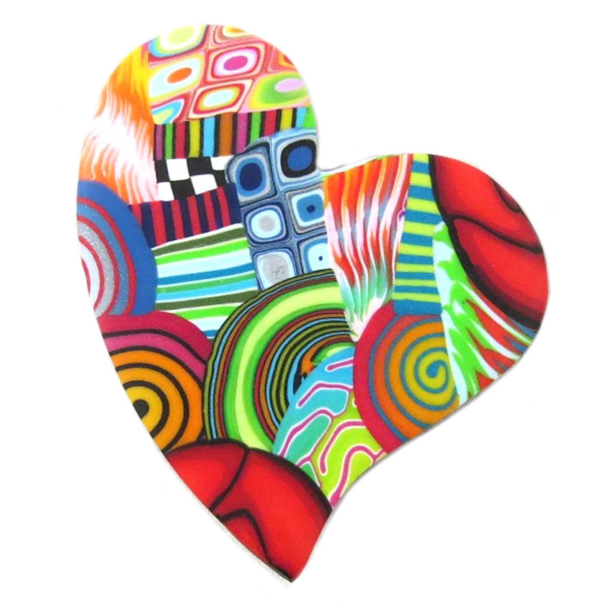 Broche artisanale \'Colombine & Arlequin\' multicolore (coeur) - 55x50 mm - [P9844]