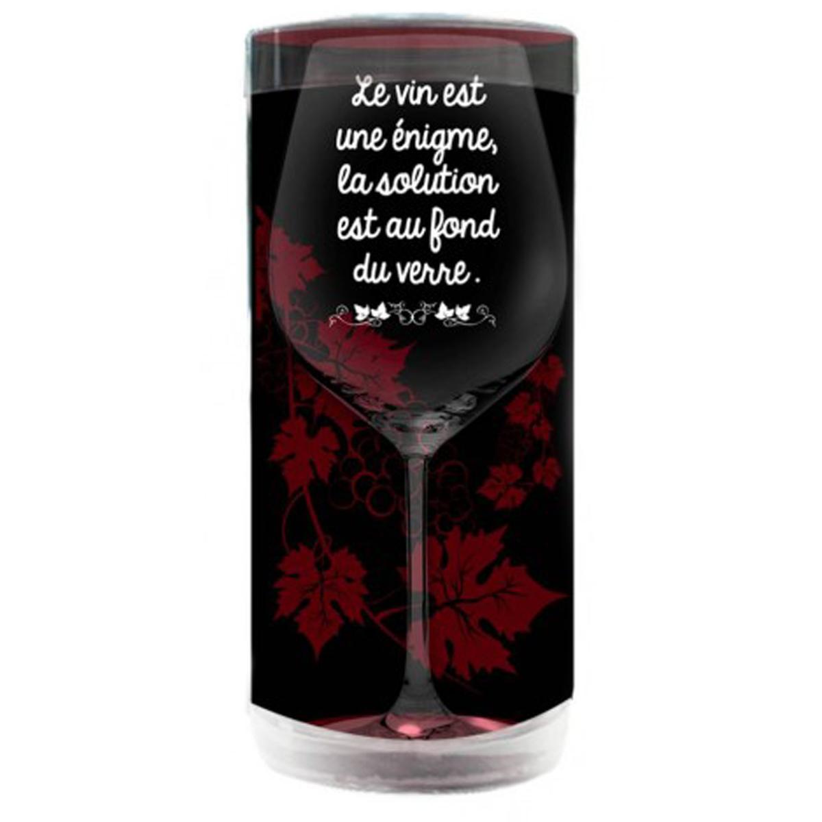 Verre à vin humoristique \'Messages\' (le vin est une énigme, la solution est au fond du verre) - 23x95 cm - [P9895]