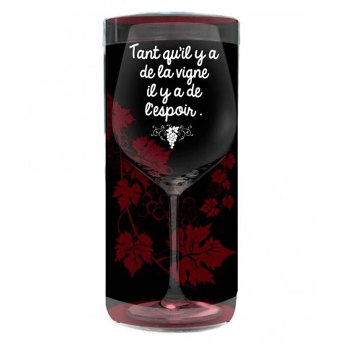 Verre à vin humoristique \'Messages\' (Tant qu\'il y a de la Vigne il y a de l\'Espoir) - 23x95 cm - [P9896]