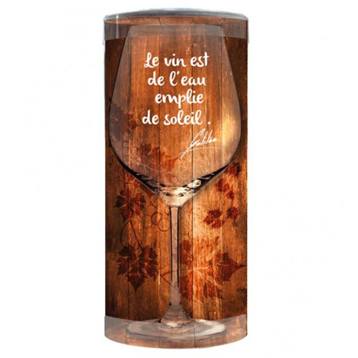 Verre à vin humoristique \'Messages\' (le Vin est de l\'Eau empli de Soleil) - 23x95 cm - [P9899]