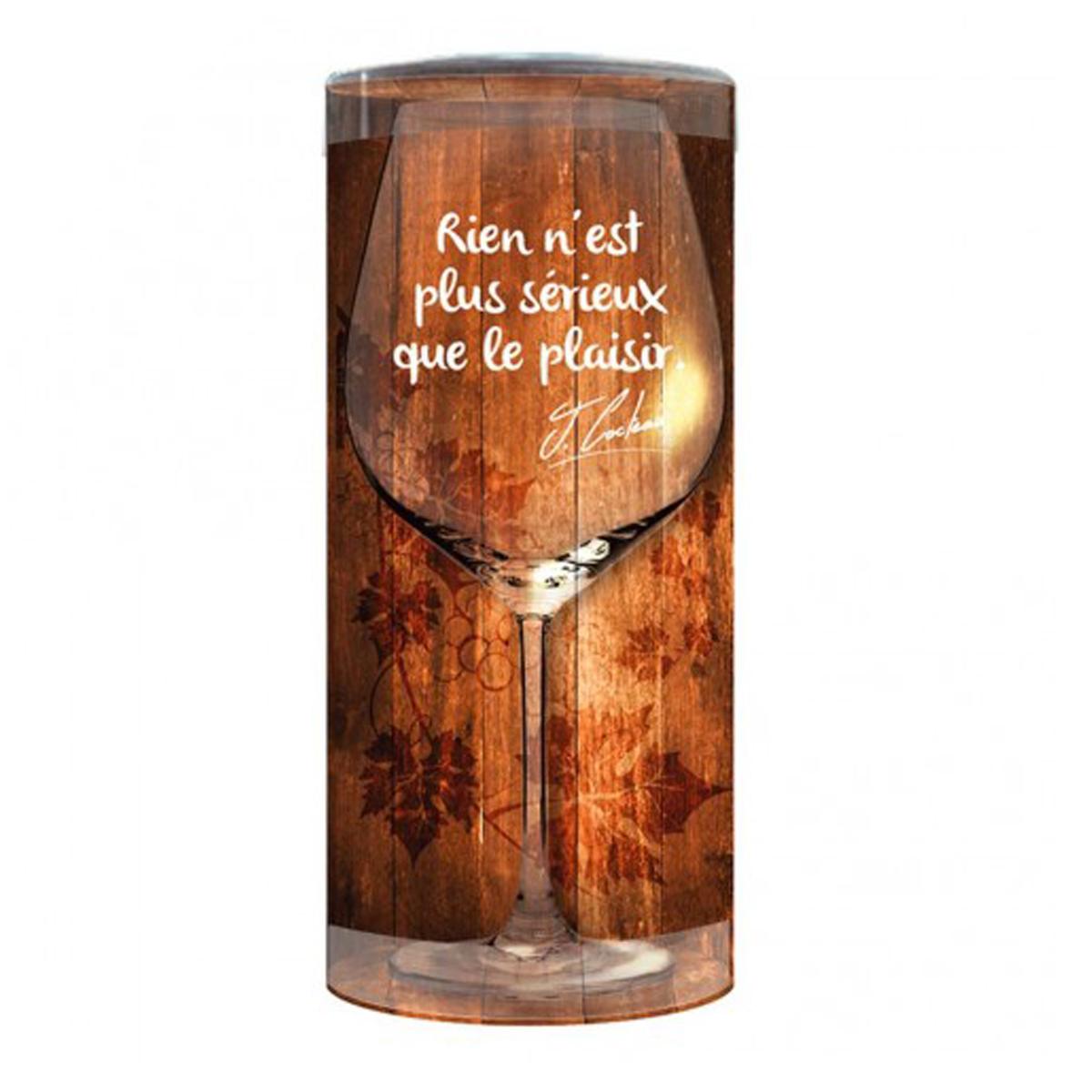 Verre à vin humoristique \'Messages\' (Rien n\'est plus serieux que le Plaisir) - 23x95 cm - [P9900]