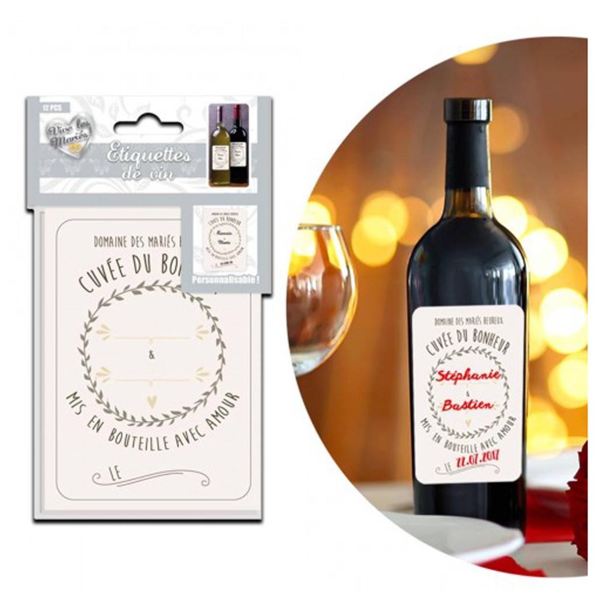 Set de 12 étiquettes vin \'Cuvée du Bonheur\' (spécial mariage) - 25x165 cm - [P9901]