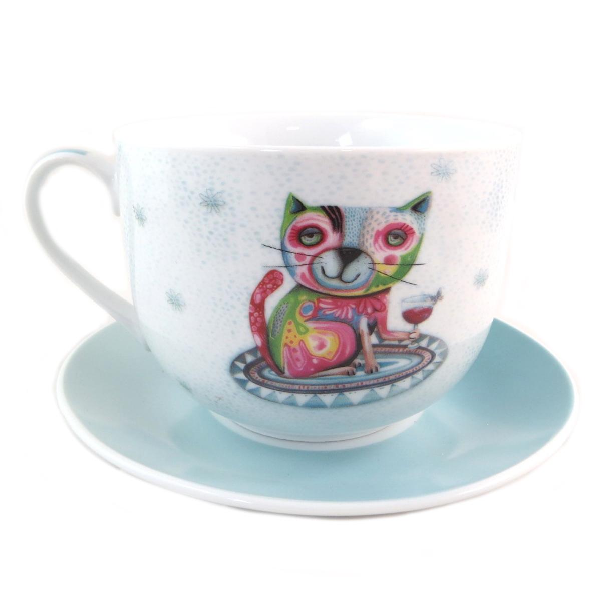 Tasse déjeuner porcelaine \'Allen Designs\' bleu multicolore (chat)  - [P9908]