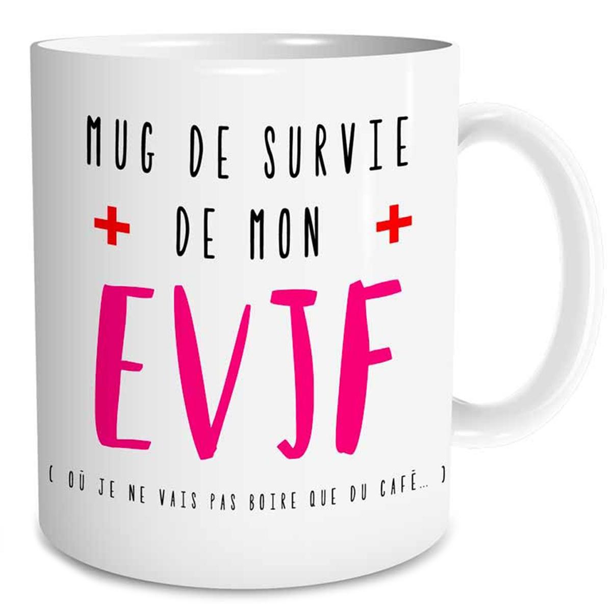 Mug céramique \'EVJF\' blanc rose (Mug de survie EVJF) - 95x8 cm - [Q5944]