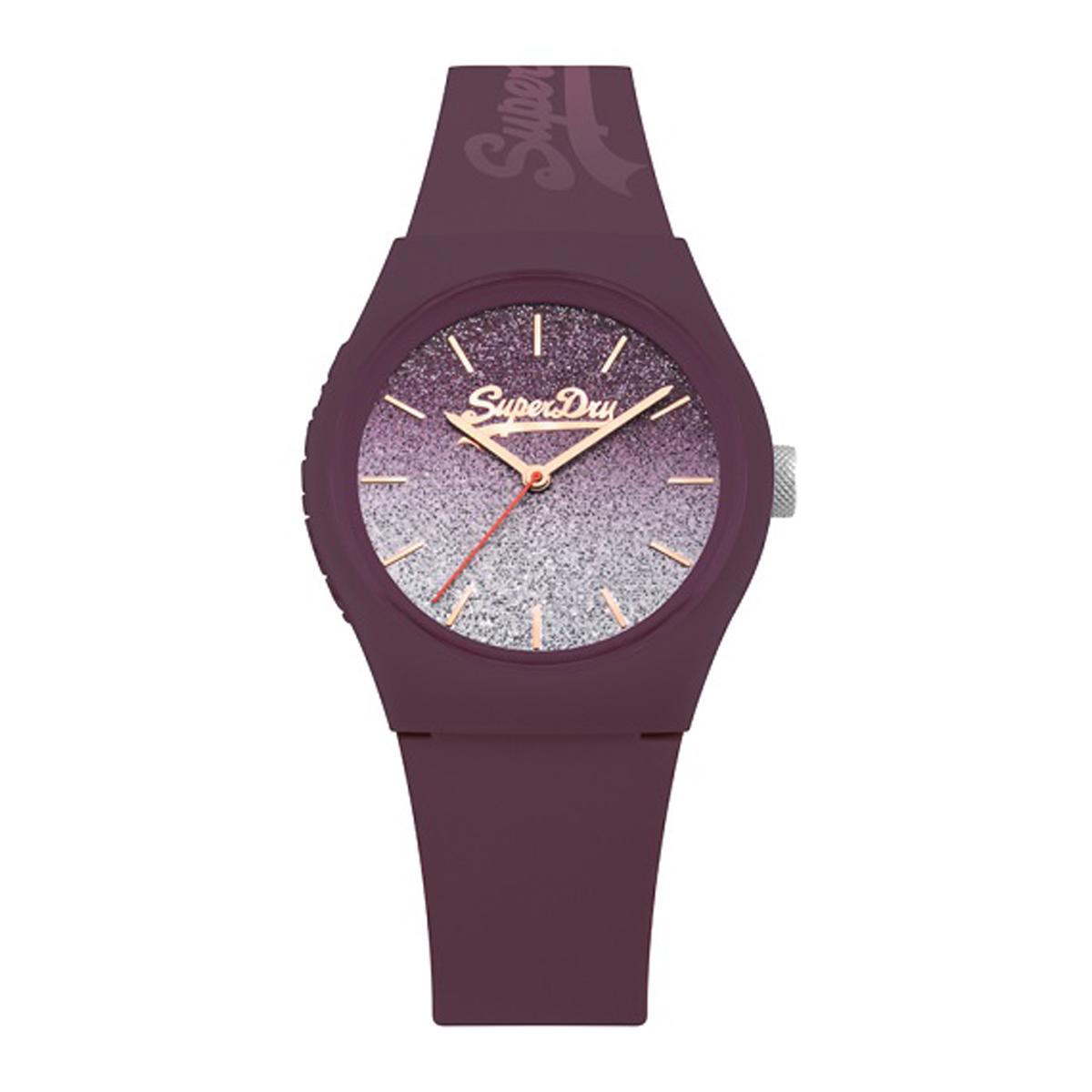 Montre silicone \'Superdry\' violet paillettes - 38 mm - [P9929]