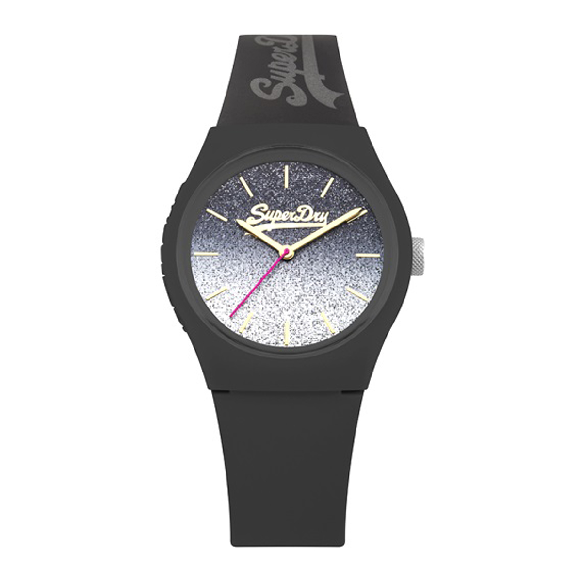 Montre silicone \'Superdry\' noir paillettes - 38 mm - [P9930]