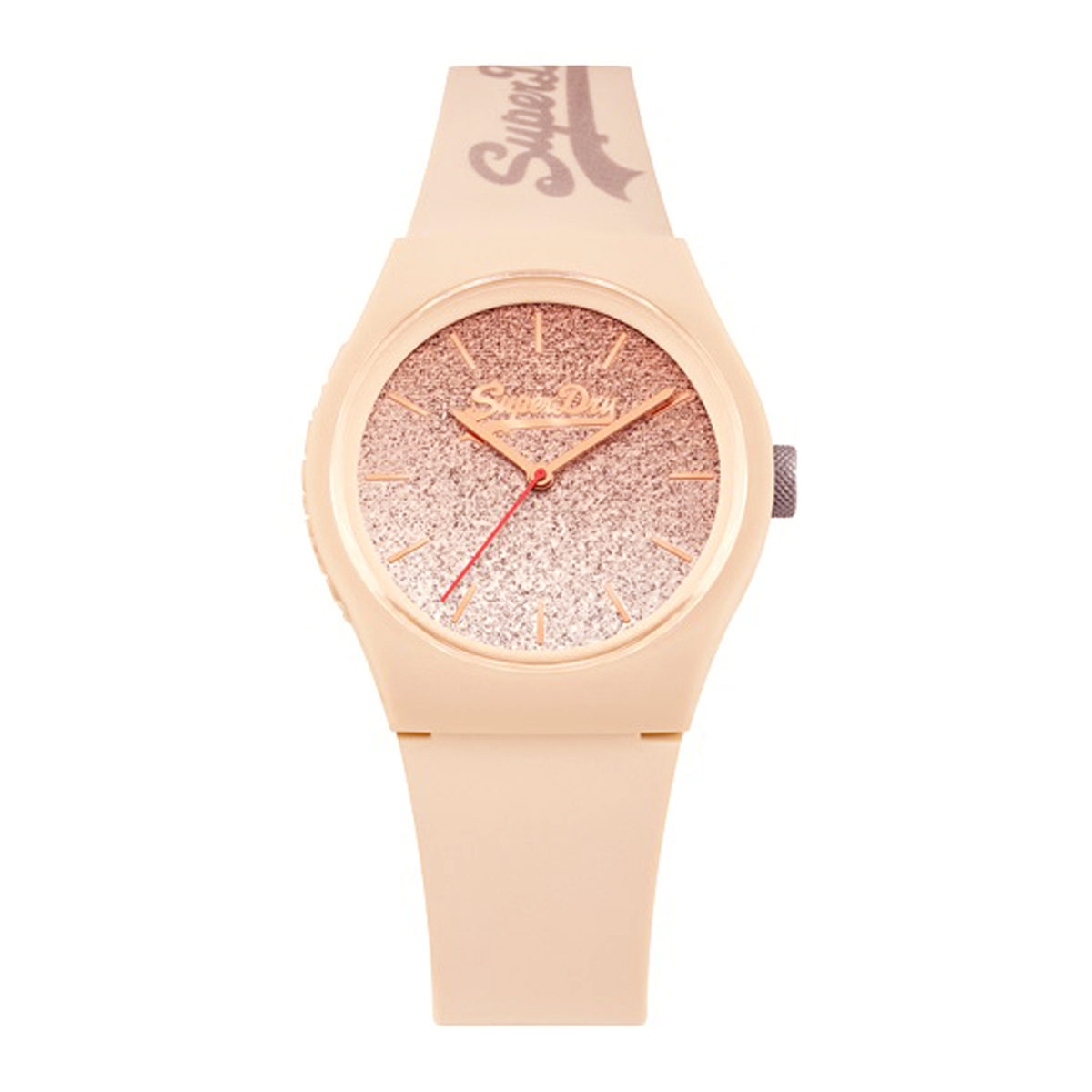 Montre silicone \'Superdry\' rose paillettes - 38 mm - [P9931]