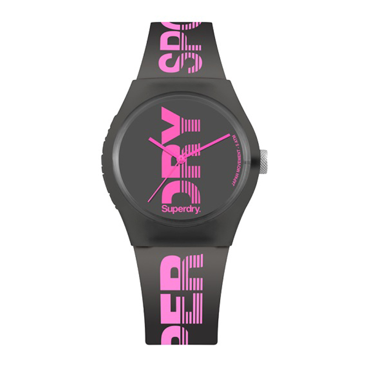 Montre silicone \'Superdry\' noir rose - 45 mm - [P9934]